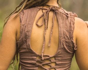 Raw Cotton Lace Up Sari Top
