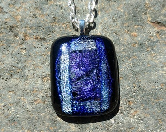 Dichroic Fused Glass Pendant, shimmering blue, green with purple starburst, Handmade Necklace
