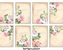 Jewelry Display Cards 8 Aceo - ATC Tags Images Digital Collage Sheet - Floral ACEO Cards - Printable Jewelry Cards Holders - Flowers ACEO