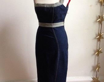 Designer Vintage 'Diane von fustenberg' Marilyn monroe style denim pencil dress.