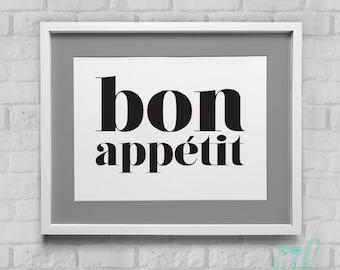 Bon Appetit Kitchen Art Instant Download Wall Art 8x10/11x14
