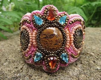 Jasper And Crystal Embroidered Cuff Bracelet, Pink Embroidery Cuff Bracelet, Pink Crystal Bracelet Cuff