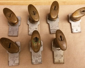 Old Vintage Safe Door Handles, No keys, 7 available, sold each, appear to be bronze, All alike, have all components, solid metal, heavy