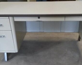 """Vintage / Industrial """"All Steel"""" Tanker Desks, Only 3-left available, All Steel Desk, Vintage Office Desk, Off-white finish, *Local P/U only"""
