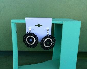 Crochet Earrings - black and white handmade crochet thread earrings jewelry