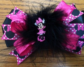 6 inch Minnie Mouse stacked hairbow