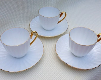 Vintage Shelley White with Gold Ribbed Demitasse Teacup and Saucer