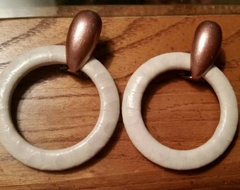 Astor Cream Leather and Copper Tone Pierced Earrings (JM103)