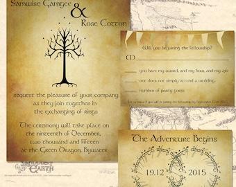 Lord Of The Rings Wedding Invitation Set Digital