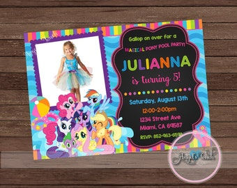 My Little Pony Pool Party Invitation with Photo, My Little Pony Birthday Invitation, My Little Pony Birthday Party Invitation, Digital File.