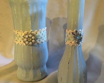 Soft blue shabby chic vases