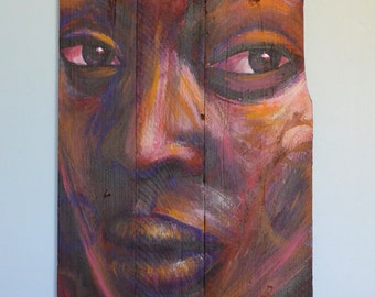 """Painting on wood """"Camélia"""""""
