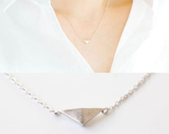 Sterling silver fill triangle shape pendant necklace