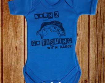 Born To Go Fishing 100% Cotton Short Sleeve Baby Bodysuit / Baby Gift
