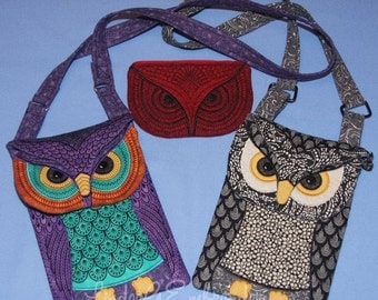 Machine Embroidery In-the-Hoop Design Owl Purse or Mini-Reader Bag Project with Applique