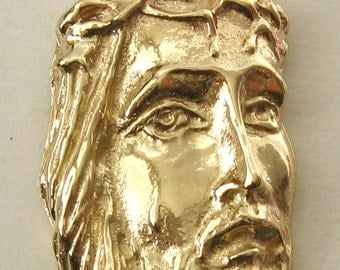 Genuine SOLID 9K 9ct YELLOW GOLD Jesus Head Pendant Religion