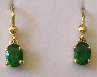 Genuine SOLID 9K 9ct YELLOW GOLD May Birthstone Emerald Earrings