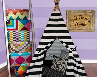 Teepee Black and White Striped Tepee Tipi Tee Pee Tent for Kids & Tee Pee Tent Pattern Instant Download