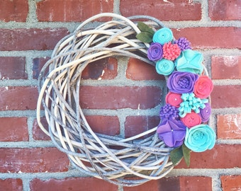 Felt Flower Grapevine Wreath with Pink, Purple and Teal Felt Flowers