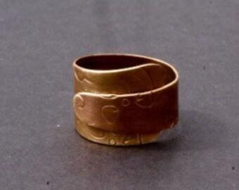 Brass wraparound etched ring