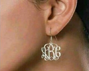 SALE- Monogrammed Sterling Silver Earrings- Bridesmaids- Gift