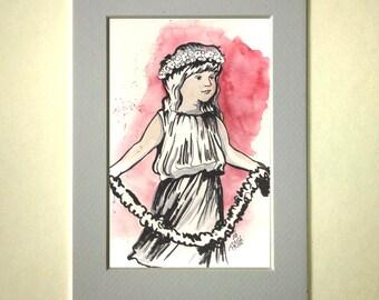 watercolor flower girl original drawing