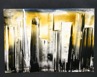 Golden yellow sky Skyline skyscrapers with Encaustic by Mary