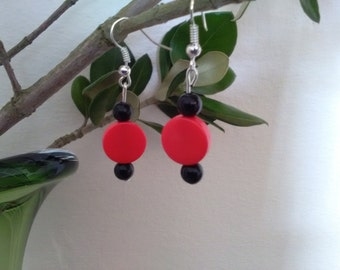 Red Button & Black Bead Dangle Earrings