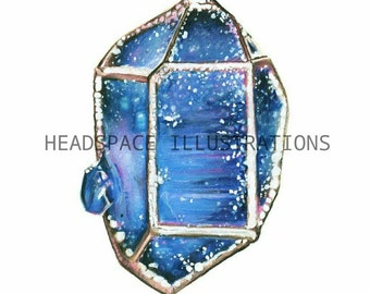 Blue Gemstone and Handpainted Gold Jewelry Art Print by Headspace Illustrations