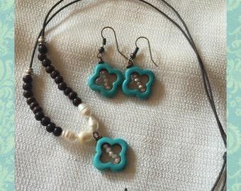 beautiful long necklace, matching earrings