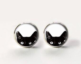 Cat Studs,Black Cat Post Earrings, Cat Earrings,cat stud