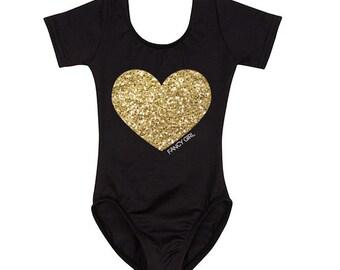 Black Leotard with Gold Glitter Heart