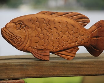 Carved Wood Curved Fish