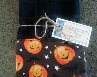 New Handmade Set of Two Halloween Fall Pumpkin Black Tea Towels, Kitchen Towels, Dish Towels, Hand Towels