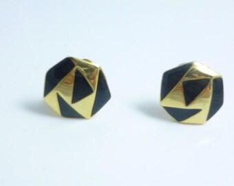 Clip on Earrings, Black Enamel Earrings, Small Clip On Earrings,Black Earrings, Gold Clip Earrings, Black clip on Earrings, Vintage