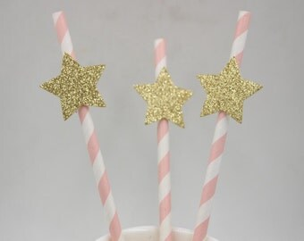 Pink Paper Straw with Gold Little Star Topper Striped Straw Celebration Drinking Decor