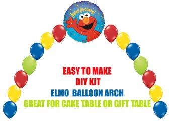 Elmo Birthday Balloons, Elmo Party Decorations Cake Table Gift Table, DIY KIT easy to assemble, Sesame Street Elmo Balloon Arch
