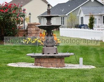 Original Art, Print, Wall Art, Water Fountain, Landscape