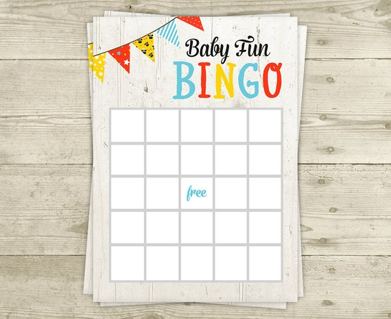 bingo baby shower game coed bingo printable instant download