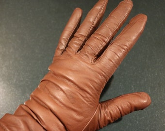 Vintage Brown Mediuml Leather Gloves, leather driving gloves, winter leather gloves