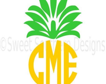 Pineapple monogram SVG instant download design for cricut or silhouette