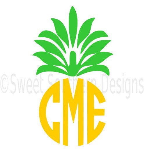 pineapple monogram svg instant download design for cricut or