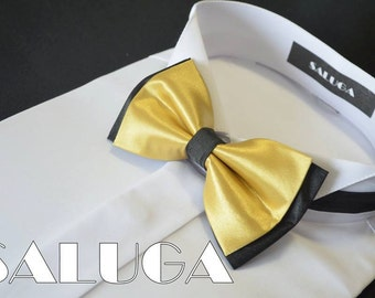 New wedding bowtie bow tie gold and black color Handmade