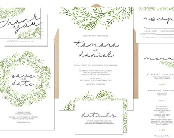 Foliage Wreath Printable Wedding Invitation Suite Build Your Own - Invitation, Save the Date, RSVP, Details, Program, Menu, Thank You Cards