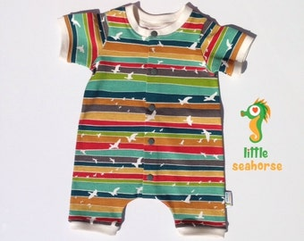 Short sleeved romper organic cotton knit gender neutral baby clothes