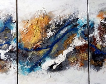 """Original Acrylic Texture Painting, Abstract- Grey Tone , Total 48""""x20"""" ( 3 board of 20""""x16"""")"""
