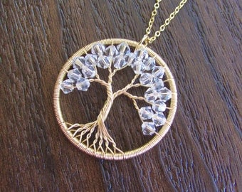 Family Tree Necklace Gold | Family Tree Pendant | Tree of Life Gold | Tree of Life Necklace | Tree of Life Wire | Tree of Life Birthstones