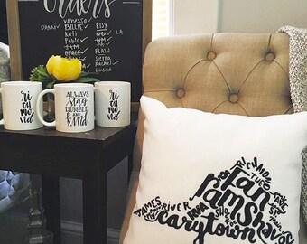 Rva Pillow | Richmond Gift | VCU | Carytown | Rams | the Fan Pillow | rva print