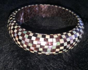 Vintage black and white check wooden bracelet