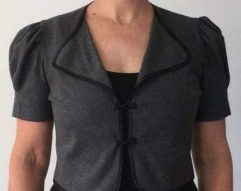 Grey wool and cashmere retro short sleeved jacket size 14
